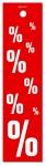 Aktionsetiketten - Anhänger %  - 38 x 150 mm - 500 Stück