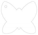 Anhängeetiketten AF-103, blanko, Schmetterling - 50 Stück