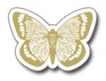 Geschenketiketten E-435a Schmetterling weiß, Prägung gold