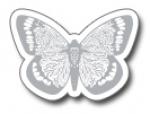 Geschenketiketten E-425b Schmetterling weiß, Prägung silber