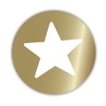 Geschenketiketten E-654 Stern gold glänzend/weiß