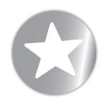 Geschenketiketten E-655 Stern silber glänzend/weiß