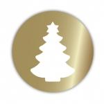 Geschenketiketten E-653 Weihnachtsbaum gold/weiß