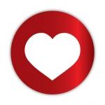 Geschenketiketten E-650 Herz rot glänzend/weiß