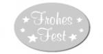 Geschenketiketten E-862b Frohes Fest silber glänzend, weiß
