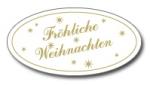 Weihnachtsetiketten E-112 oval weiß/gold Fröhliche Weihnachten