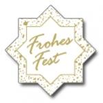Weihnachtsetiketten E-143a Stern weiß/gold Frohes Fest