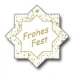 Weihnachtsetiketten E-149a Stern weiß/gold Frohes Fest