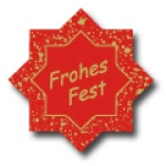Weihnachtsetiketten E-149b Stern rot/gold Frohes Fest