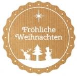 Weihnachtsetiketten E-952 Kraft braun, Prägung in weiß