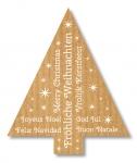 Weihnachtsetiketten E-971 Kraft braun, Prägung in weiß