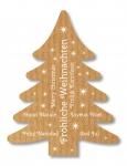 Weihnachtsetiketten E-972 Kraft braun, Prägung in weiß