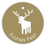 Geschenk-Anhänger Frohes Fest Hirsch SP-153-50 - 40 mm rund - 50 Stück