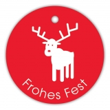 Anhänge-Etikett Frohes Fest Hirsch SP-133-50 - 40 mm - 50 Stück