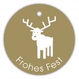 Geschenk-Anhänger Frohes Fest Hirsch SP-153-100 - 40 mm rund - 100 Stück