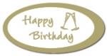 Geschenketiketten E-803a Happy Birthday weiß, Prägung in gold