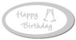 Geschenketiketten E-803b Happy Birthday weiß, Prägung in silbe