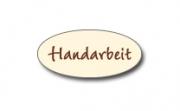 Geschenketiketten E-881a Handarbeit creme, Prägung in braun